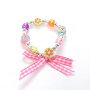 Multicolor Flat Bead Bracelet With Ribbon Bow-0
