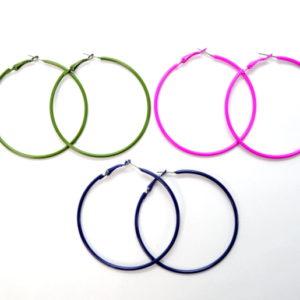 3 Pairs Of Multicolor Hoop Earrings-0