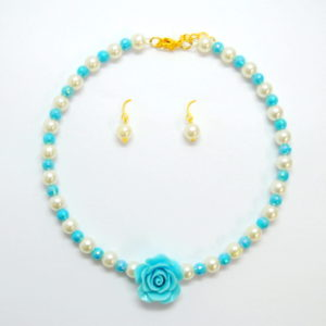 Blue Rose With Pearls Necklace Set-0