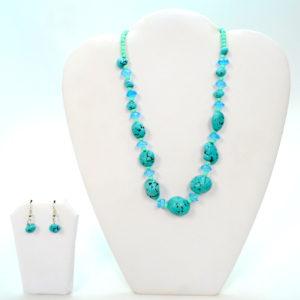 Blue And Aqua Stoned Necklace Set-0