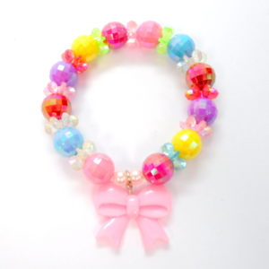 Multicolor Beaded Bracelet With Pink Bow -0