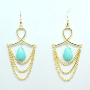 Aqua And Gold Chandelier Earrings-0