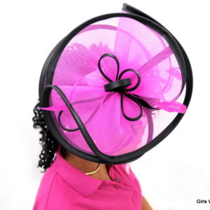 Hot Pink Trim Black Fascinator-0