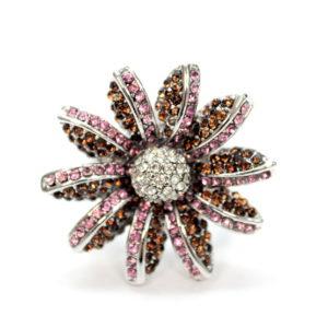 Pretty Pink Flower Rhinestone Ring-0