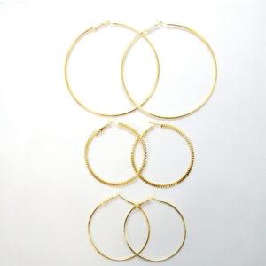 3 Pairs Of Gold Hoop Earrings-0