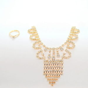 Gold Crystal Neclace Set-0