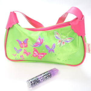 Lime Green And Hot Pink Butterfily Print Bag-0