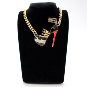 Black And Red Diva Shoe Gold Necklace-0