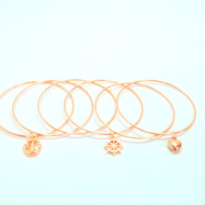 6 Bronze Bracelets With Heart And Anchor Charm-0