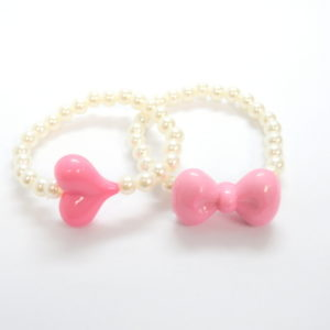 2 Pink Bow And Heart Pearl Bracelets-0