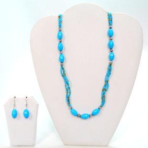 Blue Fine Bead Necklace Set-0