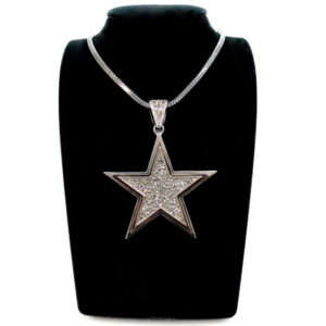 Black Rhodium And Rhinstones Star Pendant Necklace-0