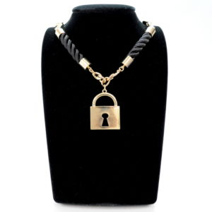Gold Black Rope Lock Charm Necklace-0