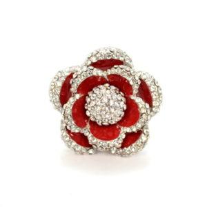 Red Flower Rhinestone Ring-0