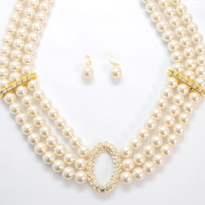 3 Link Pearl Beads Necklace Set-0