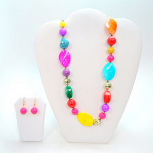 Multicolor Flat Twisted Stone Necklace Set-0