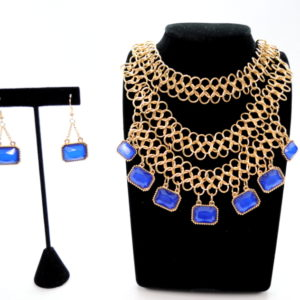 Blue And Gold Linked Necklace Set-0