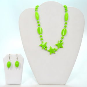 Lime Green Star Necklace Set-0