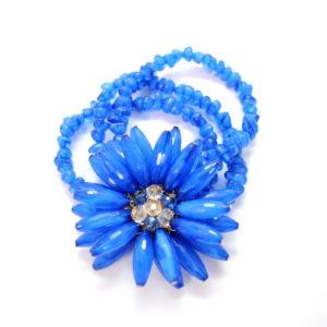 Blue Floral Beaded Bracelet -0