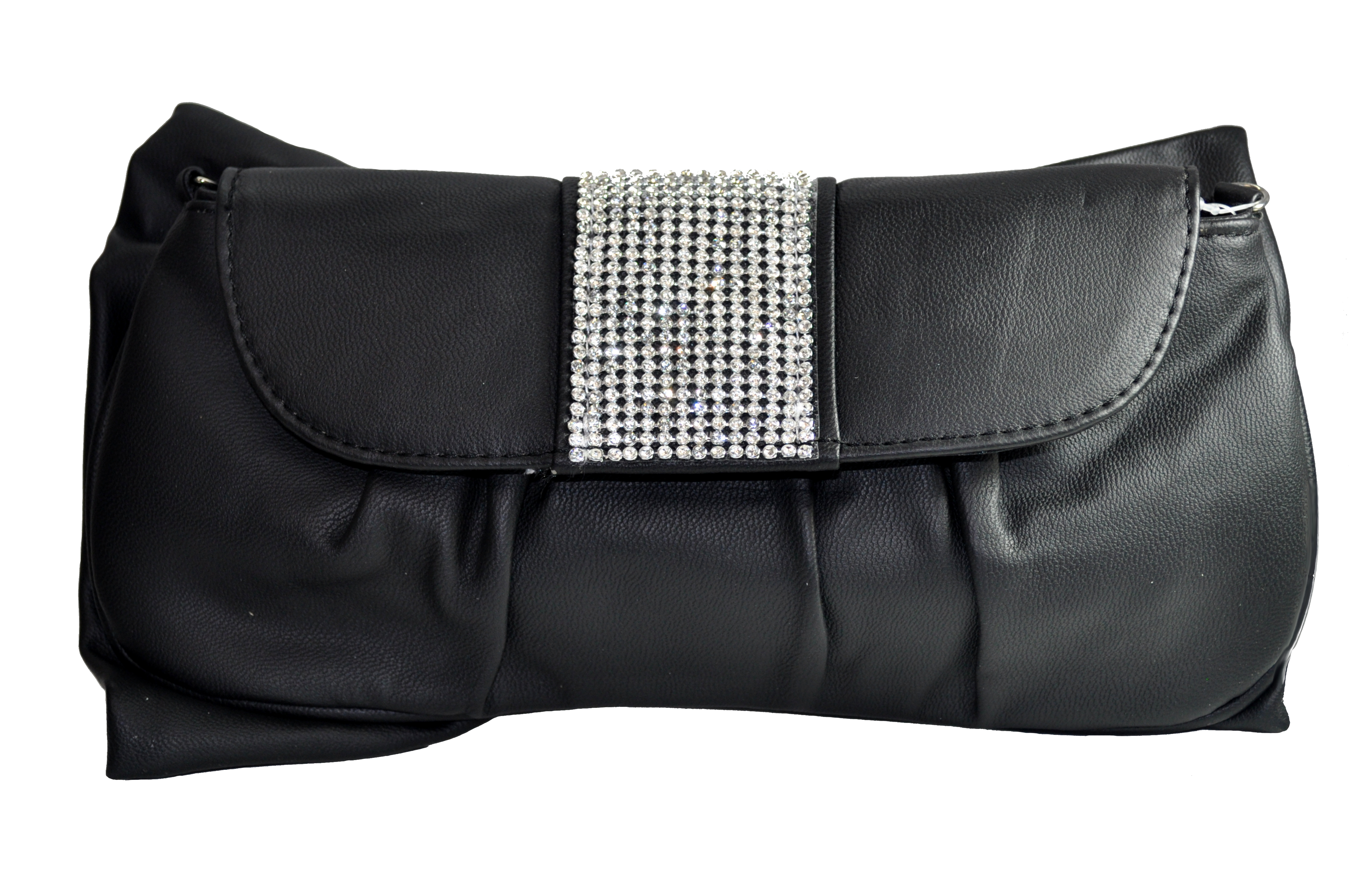 Black And Silver With Rhinestones Clutch-0