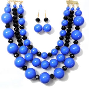 Black And Royal Blue Necklace Set-0