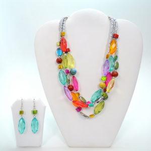 Multicolor 3 Linked Stone Gem Necklace Set-0