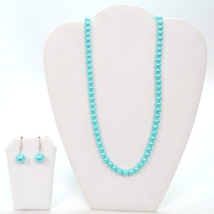 Aqua Pearl Necklace Set-0
