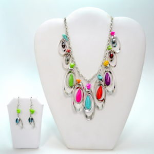 Multicolor Silver Oval Stone Marble Gem Necklace Set-0