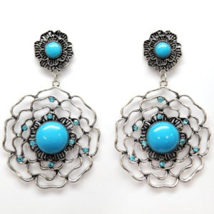Aqua And Silver Flower Earrings-0