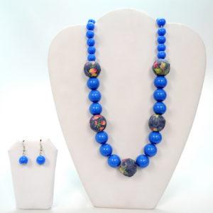 Blue Floral Necklace Set-0