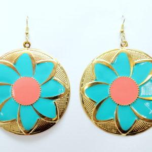 Aqua Round Flower Earrings -0