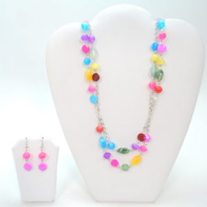 Multicolor Small Stones Necklace Set-0