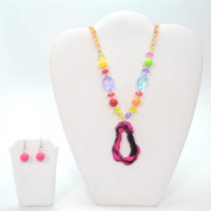 Multicolor Stone Gem Necklace Set-0