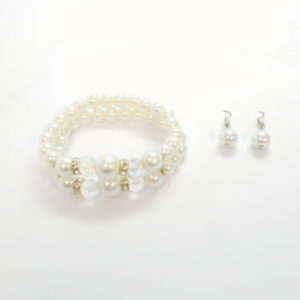 2 Link Gem Pearl Bracelet And Earring Set-0