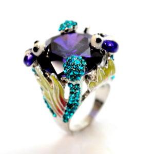 Purple And Aqua Bug Garden Rhinestone And Gem Ring-0