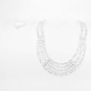 Silver Crystal Necklace Set-0