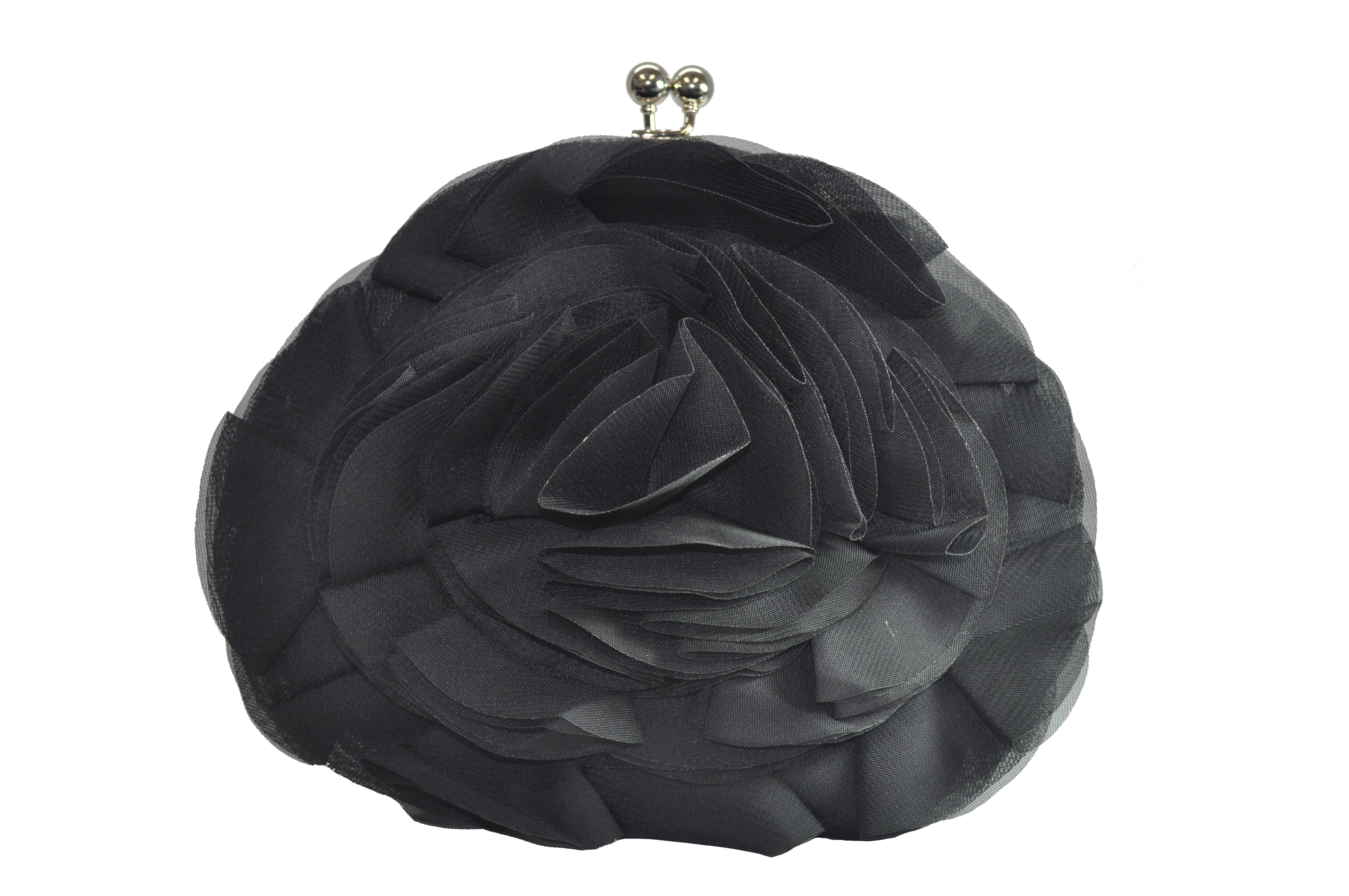 Black And Silver 'Ruffled' Clutch-0