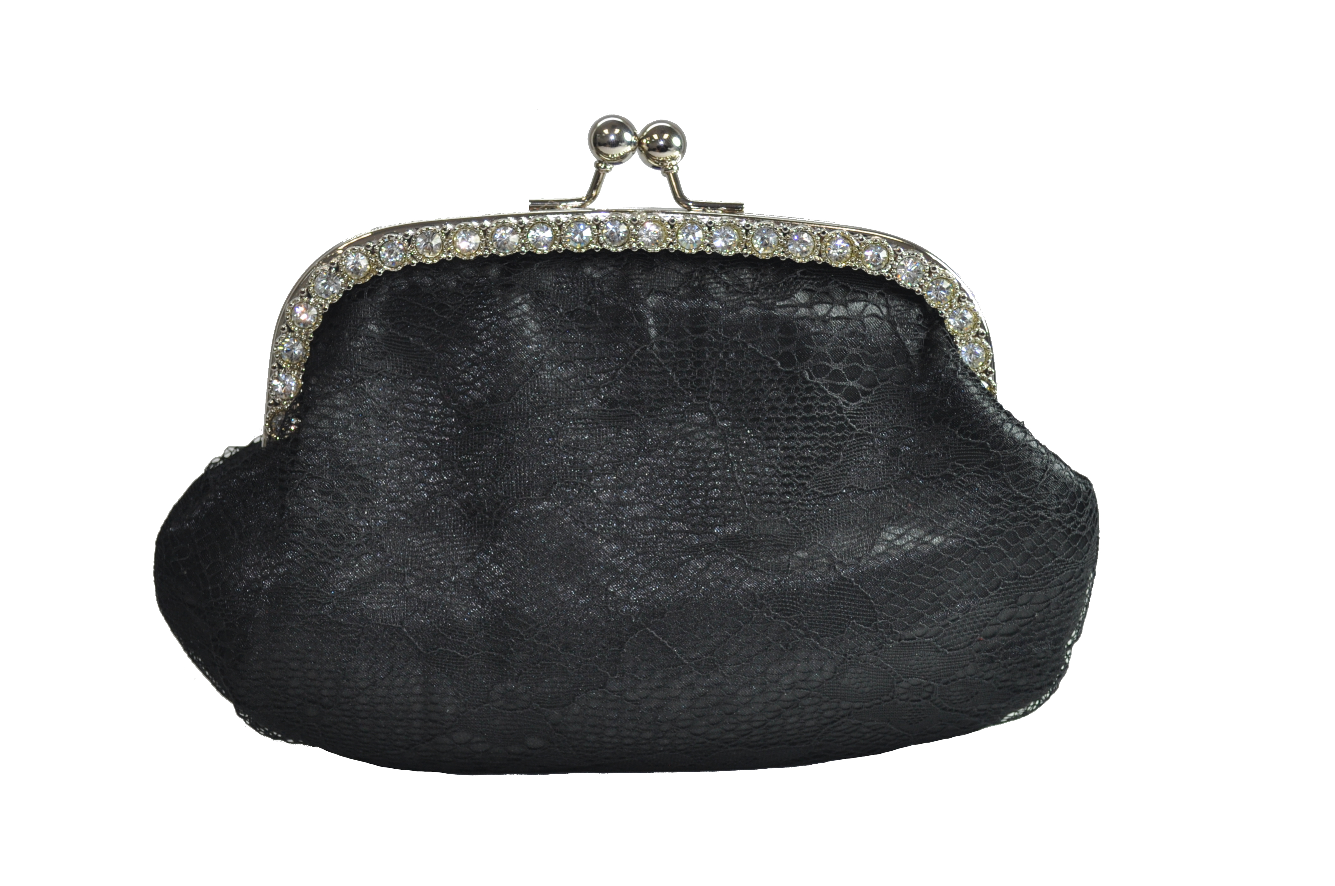 Black With Silver Rhinestones Clutch-0