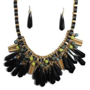 Black, Gold And Green Necklace Set-0