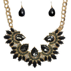 Black And Gold Gem Necklace Set-0