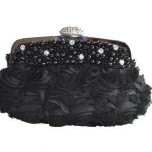 Black Pearls With Silver Rhinestones Cloth Clutch-0
