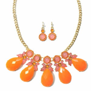 Baby Pink And Florescent Orange Floral Necklace Set-0