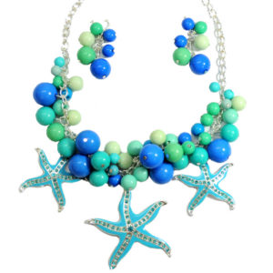 Blue And Aqua Starfish Necklace Set-0