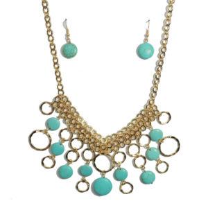 Aqua Stones And Gold Circles Necklace Set-0