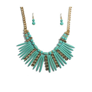 Aqua And Gold Tribal Necklace Set-0