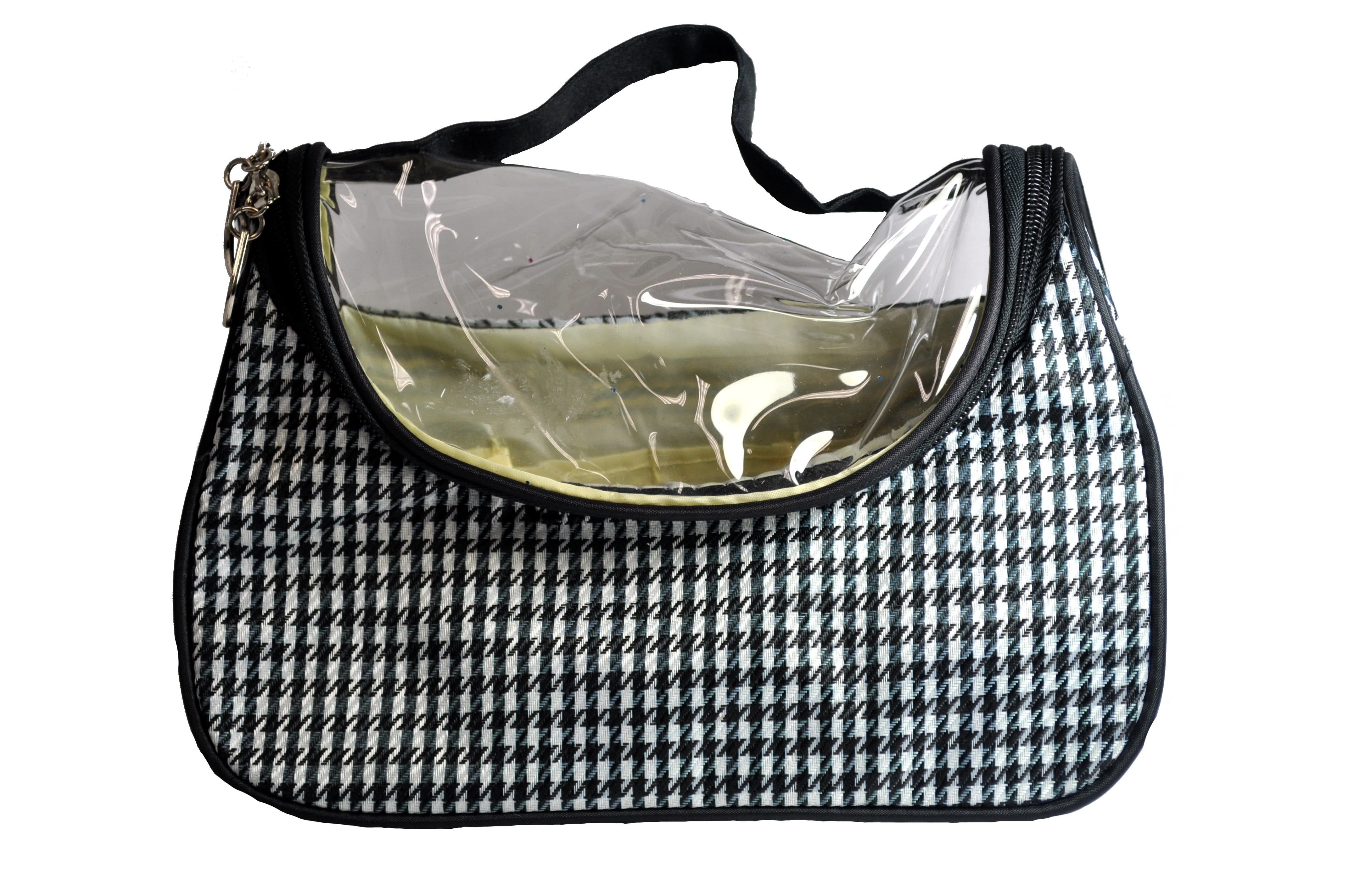 Black And White Checker Board Print Make Up Bag-0