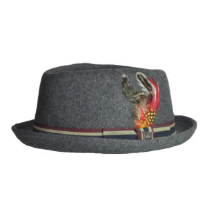Dark Grey With Red, Tan And Black Ribbon Fedora Hat-0