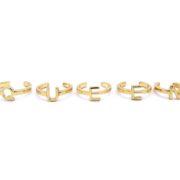 5 Gold Midi Rings that spell Q.U.E.E.N-0