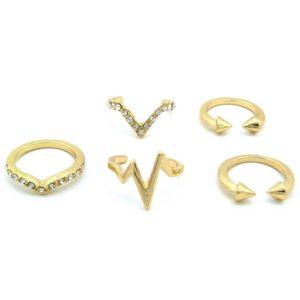 5 Gold Midi Rings -0