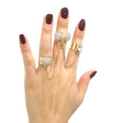 3 Gold Rhinestone Linked Chain Rings-2654